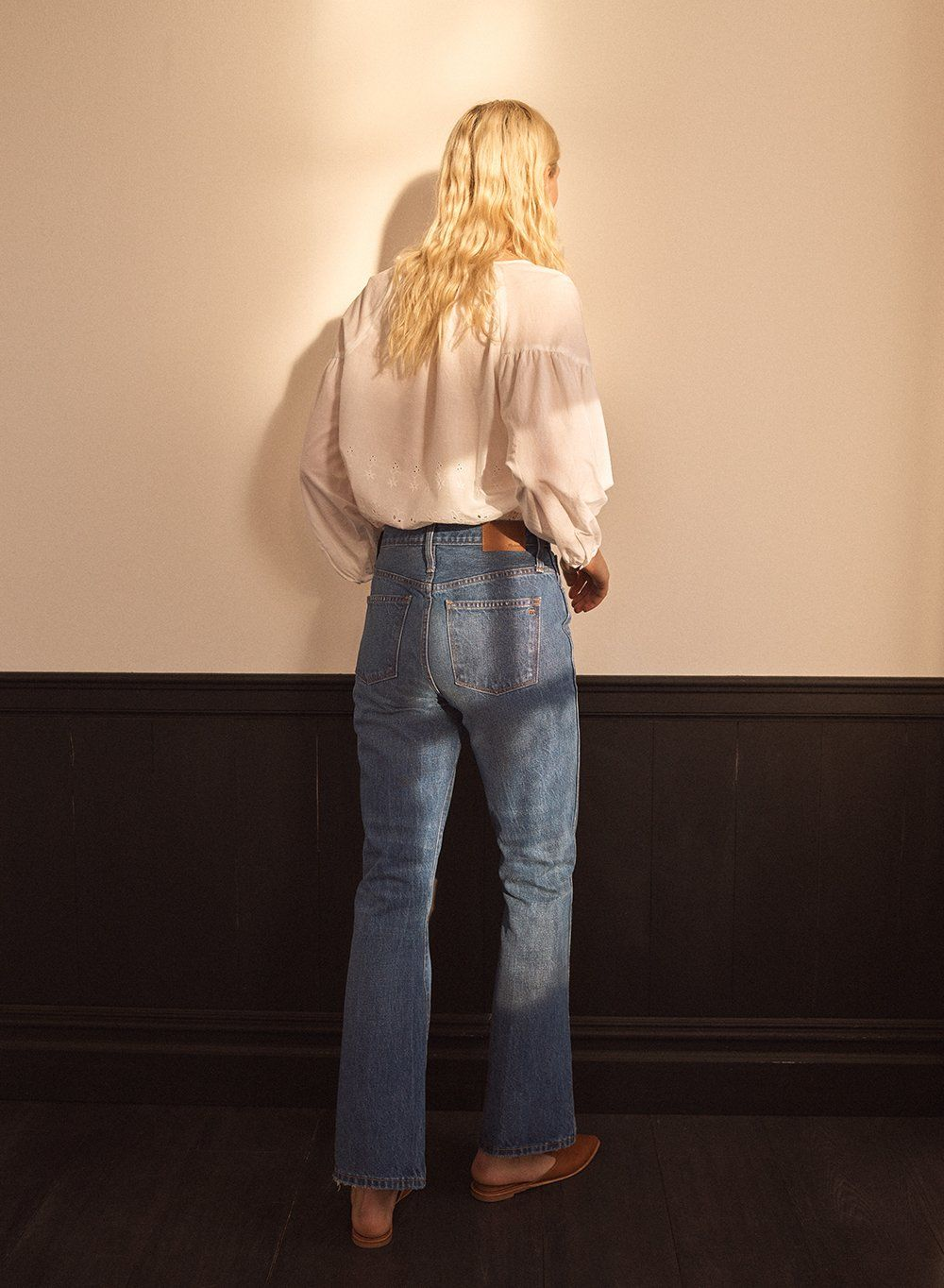 fba926b281 madewell rigid flare jeans worn with eyelet lattice top + the gemma mule.