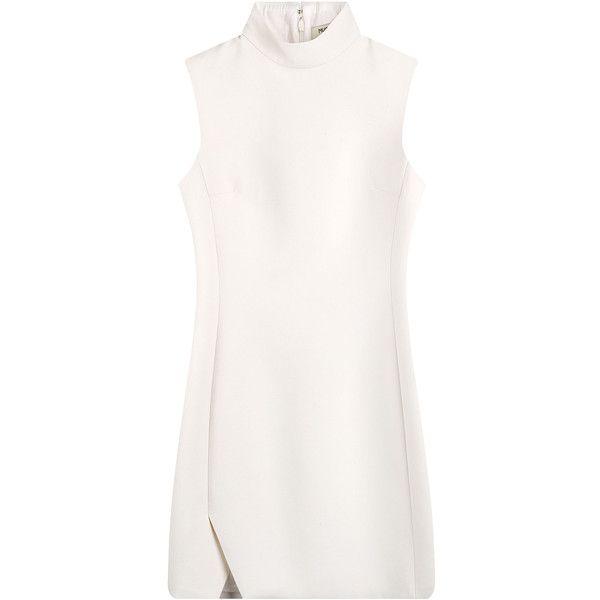 Mugler Virgin Wool Mini Dress (€1.160) ❤ liked on Polyvore featuring dresses, vestidos, short dress, white, turtleneck tops, mini dress, short dresses, white turtleneck top и turtle neck white dress