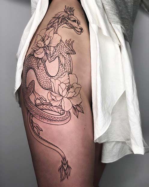 Dragon Thigh Tattoo Badass Tattoos Hip Thigh Tattoos Dragon Thigh Tattoo