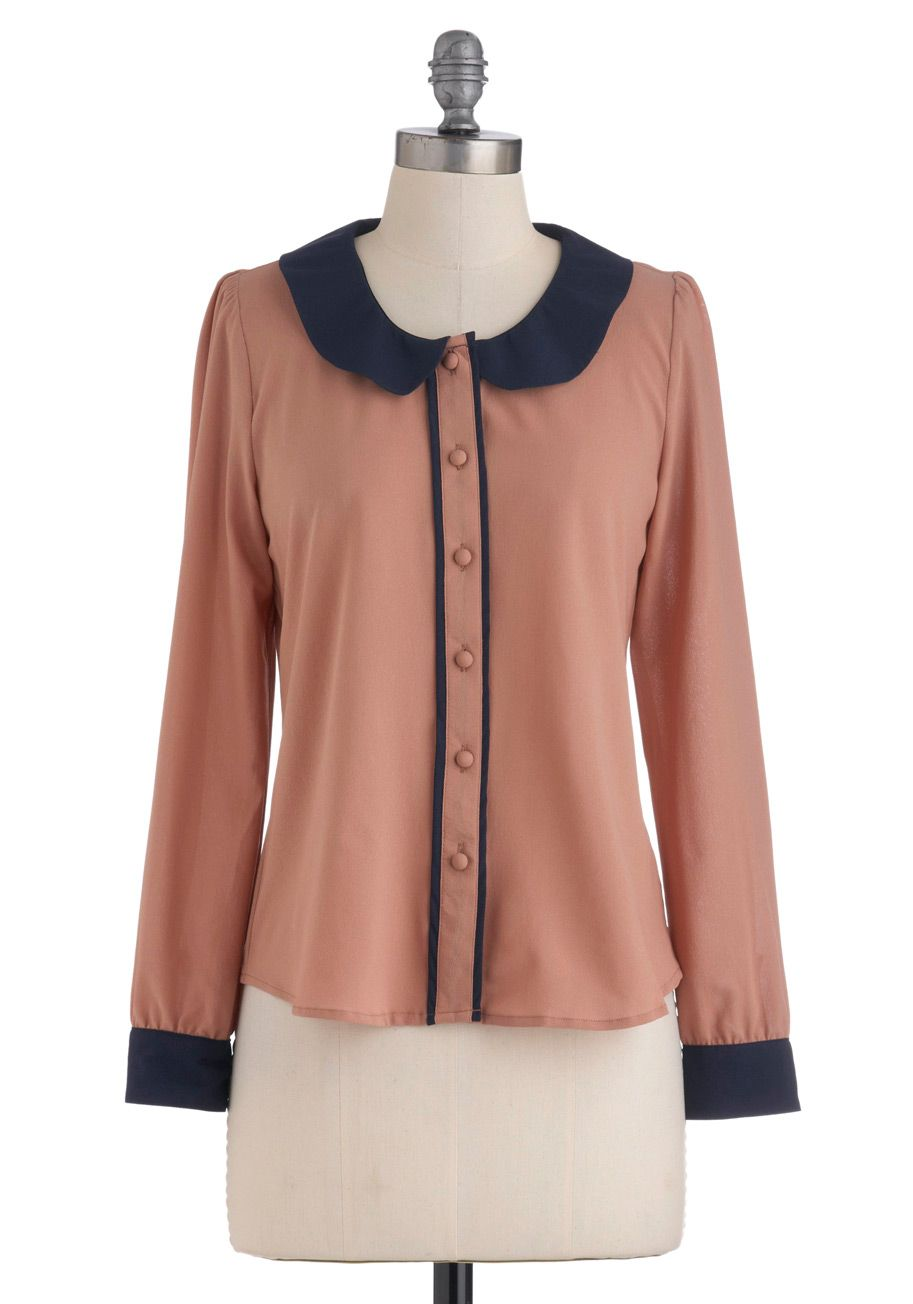 Demure All I Need Top - Mid-length, Pink, Blue, Color Block, Buttons, Peter Pan Collar, Long Sleeve, Work