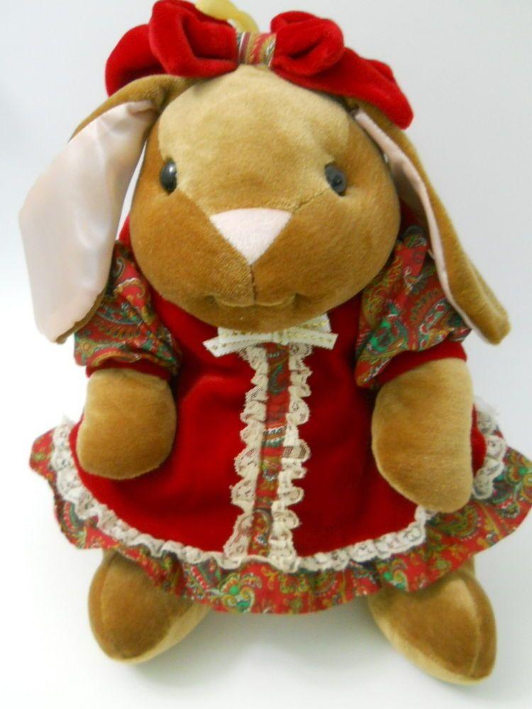Vntg Velveteen Rabbit Plush Stuffed Animal Toys R Us 1985 Red Dress Bow Pink Ear Plush Stuffed Animals Pet Toys Plush Animals