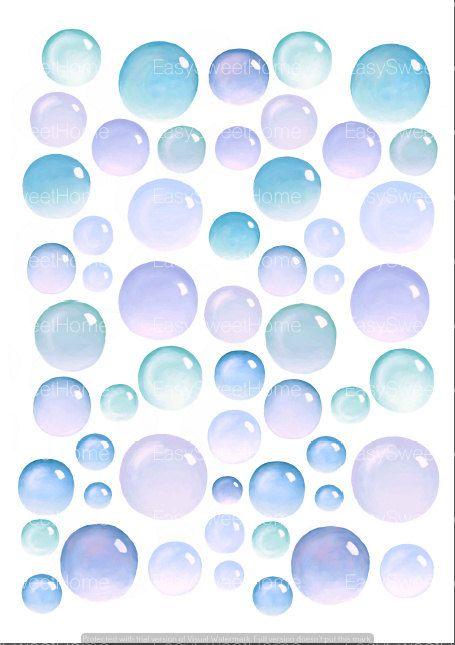 Bubbles Decals 55 Set Blue Bathroom Decals For Walls Ceramic