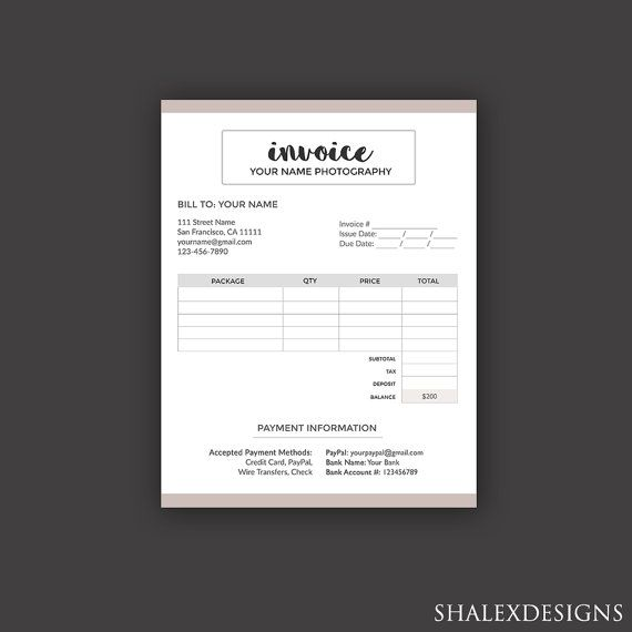Grab This Invoice Form Template For Your Photography Business Bookingform Photography Photograp Photography Invoice Photography Contract Invoice Template