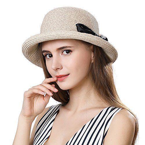 a1c95e5b137 Packable UPF Straw Sunhat Women Summer Beach Travel Hat Ventilated w Chin  Strap  SiggiHat
