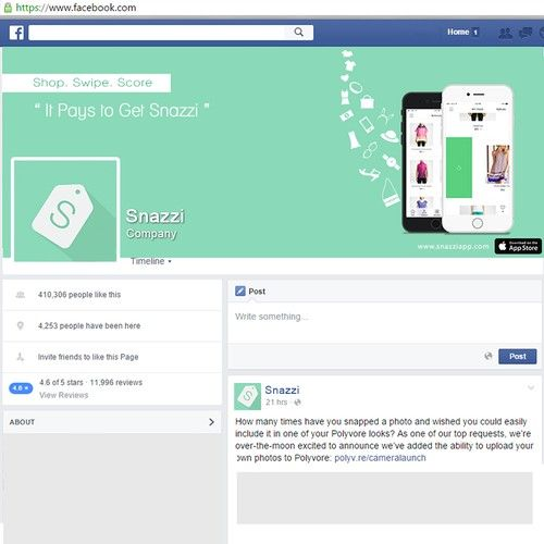 Create a Facebook cover photo for a new iOS shopping app