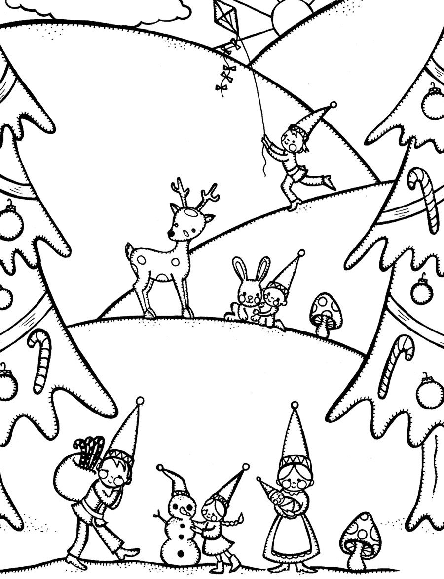 Winter Coloring, Gnome Free Winter Coloring Pages: Gnome Free Winter ...