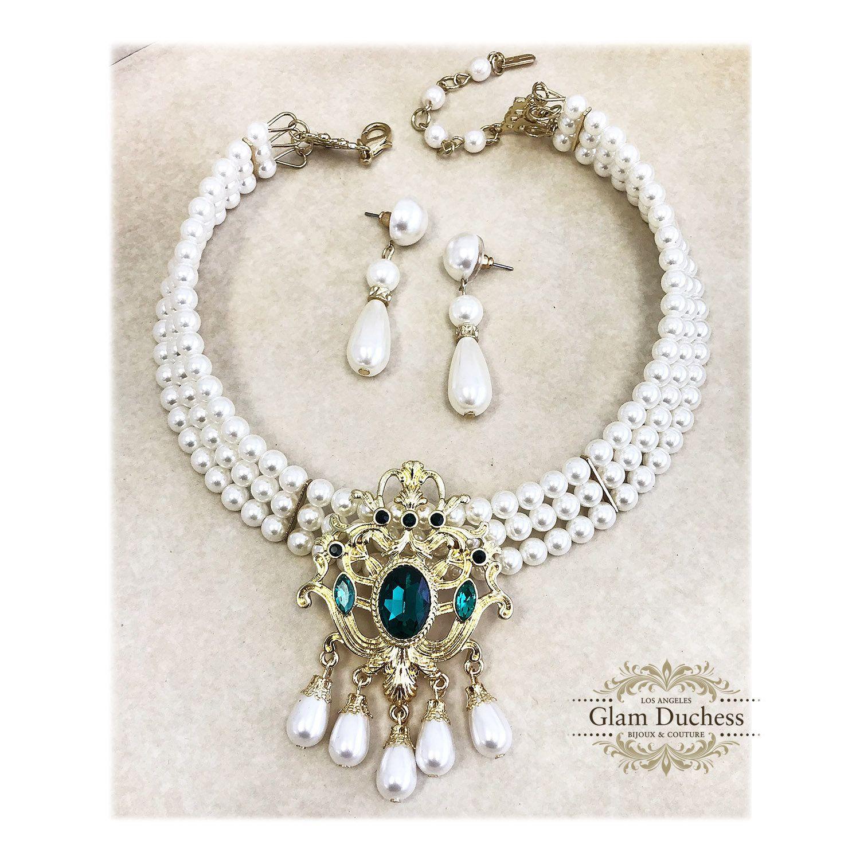 543d68ff1a1d3 Bridal Pearl Choker Earrings Set, Victorian Emerald Pearl Bridal ...
