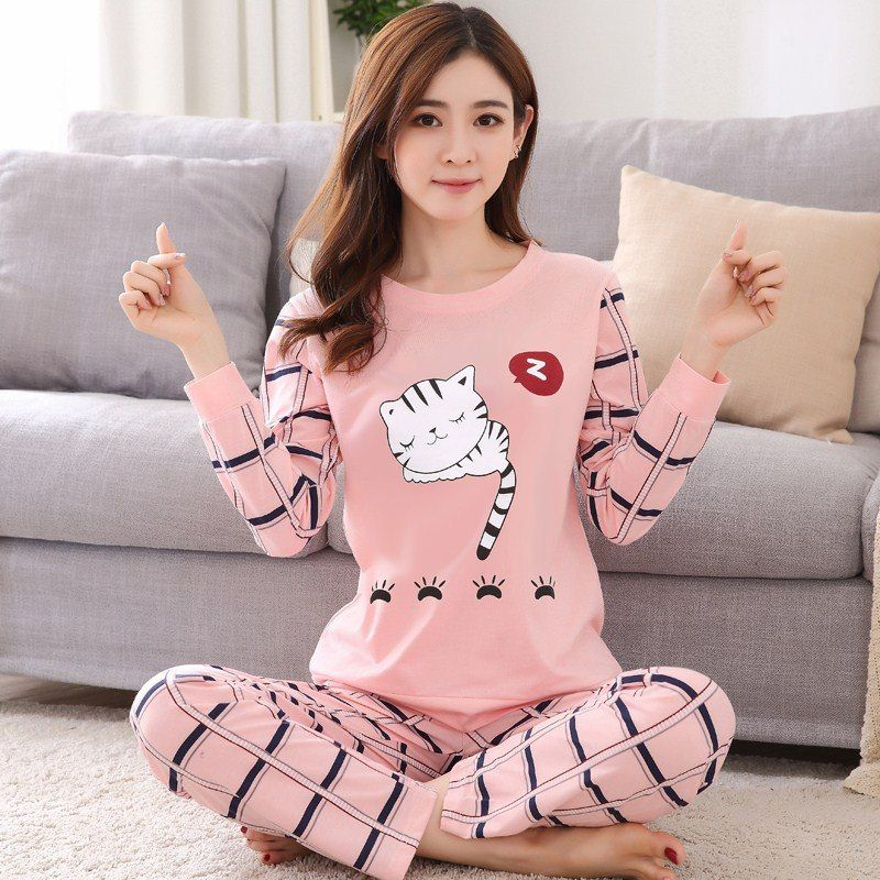 5d12aeb48deaf Pink Cat Cotton Pajamas Set Autumn Spring Long Sleeve Thin Homewear Cute  Cartoon Sleepwear Lady Shirts And Pants Cheap Nightwear