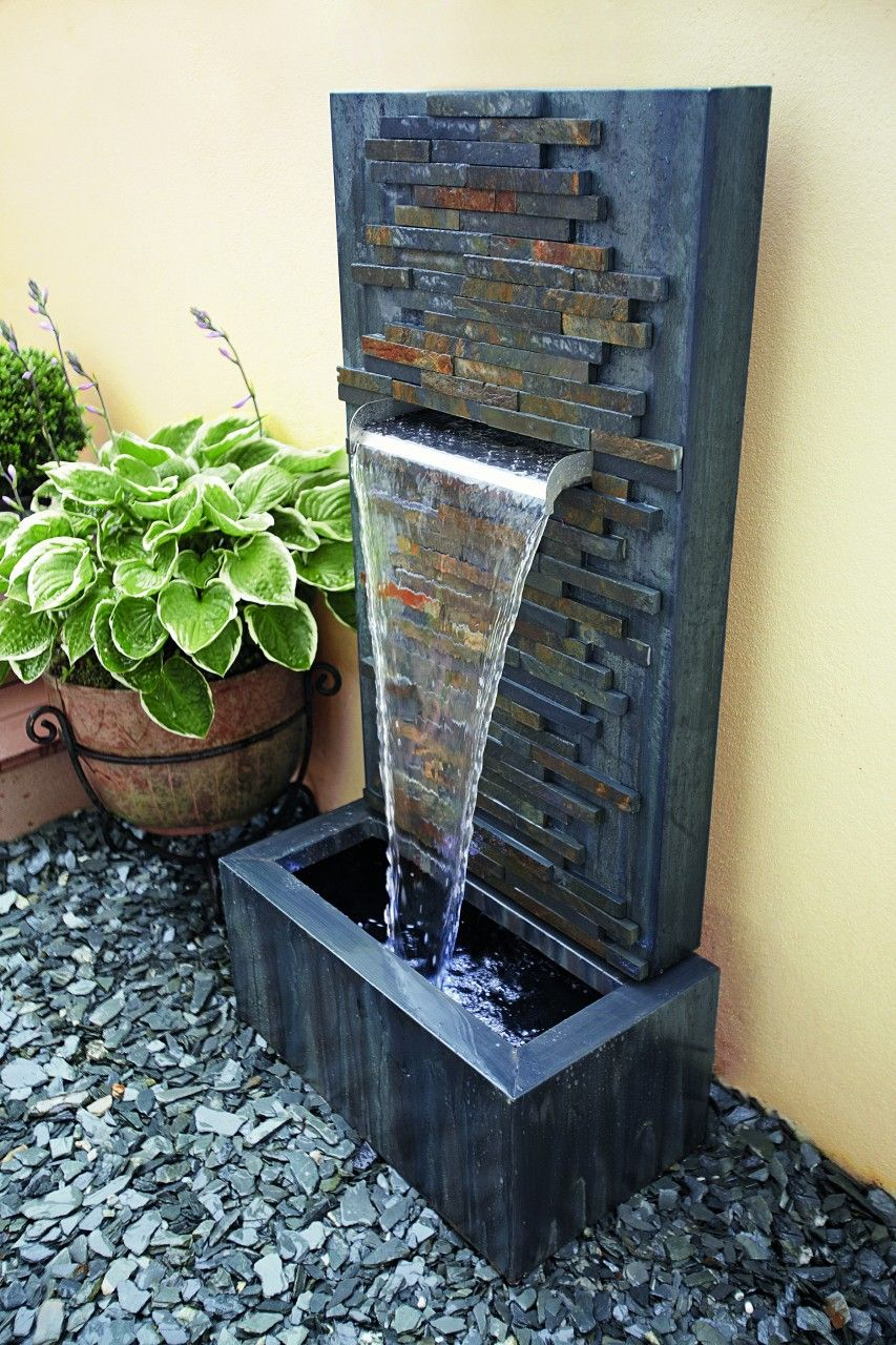 slate falls water feature with lightsgardman | water features