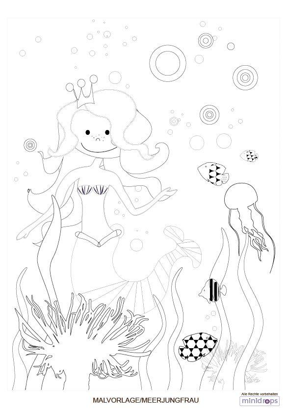 Meerjungfrau Malvorlage kostenlos ausdrucken | Meerjungfrau partys ...