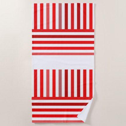 Red Burgundy And White Stripes Beach Towel Zazzle Com