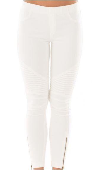 438eb6914de77 Beulah Moto Zipper Legging Jegging -Off White - Debra's Passion Boutique - 1