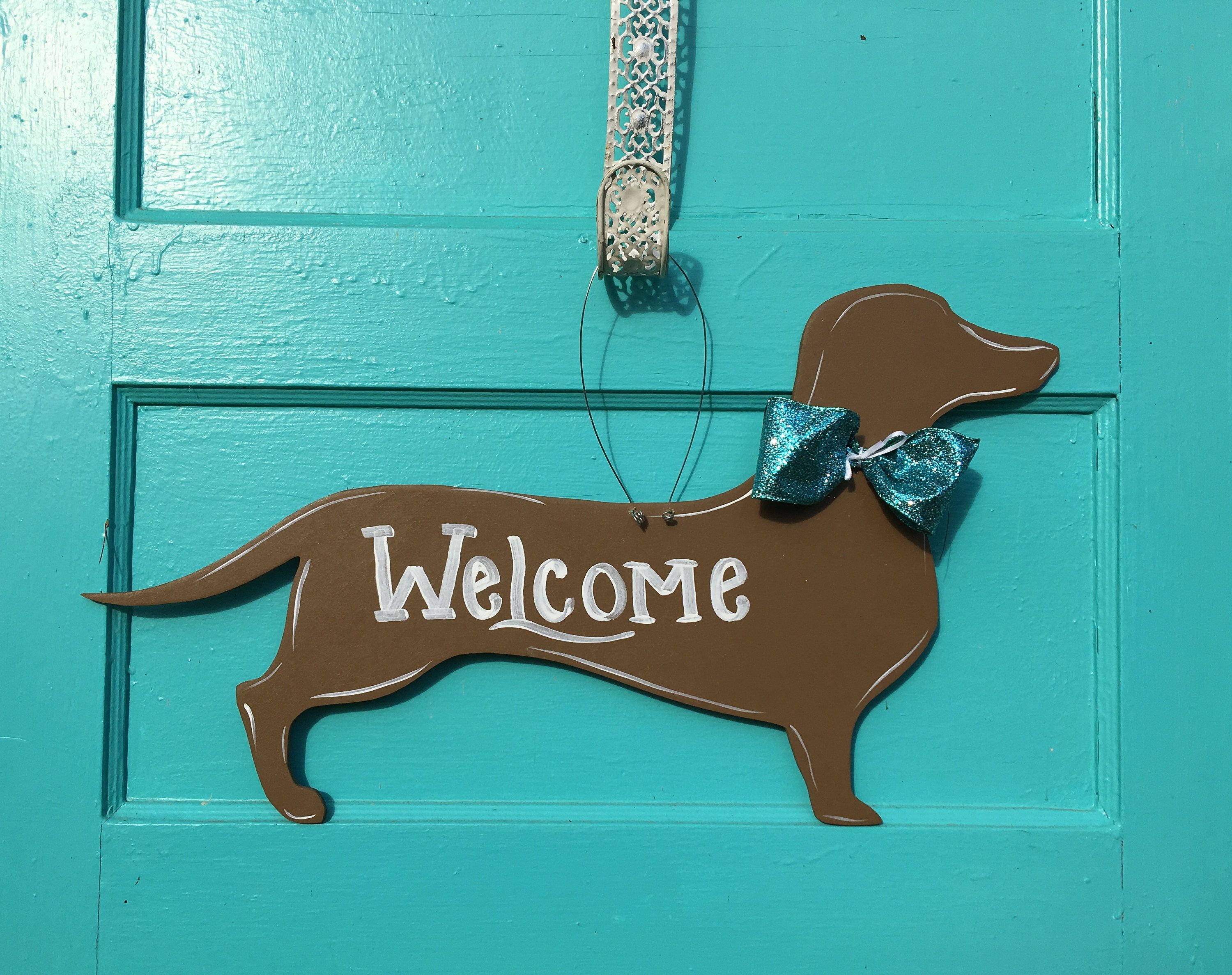 Dachshund Door Hanger Dog Door Hanger Welcome Sign Winnie Dogs