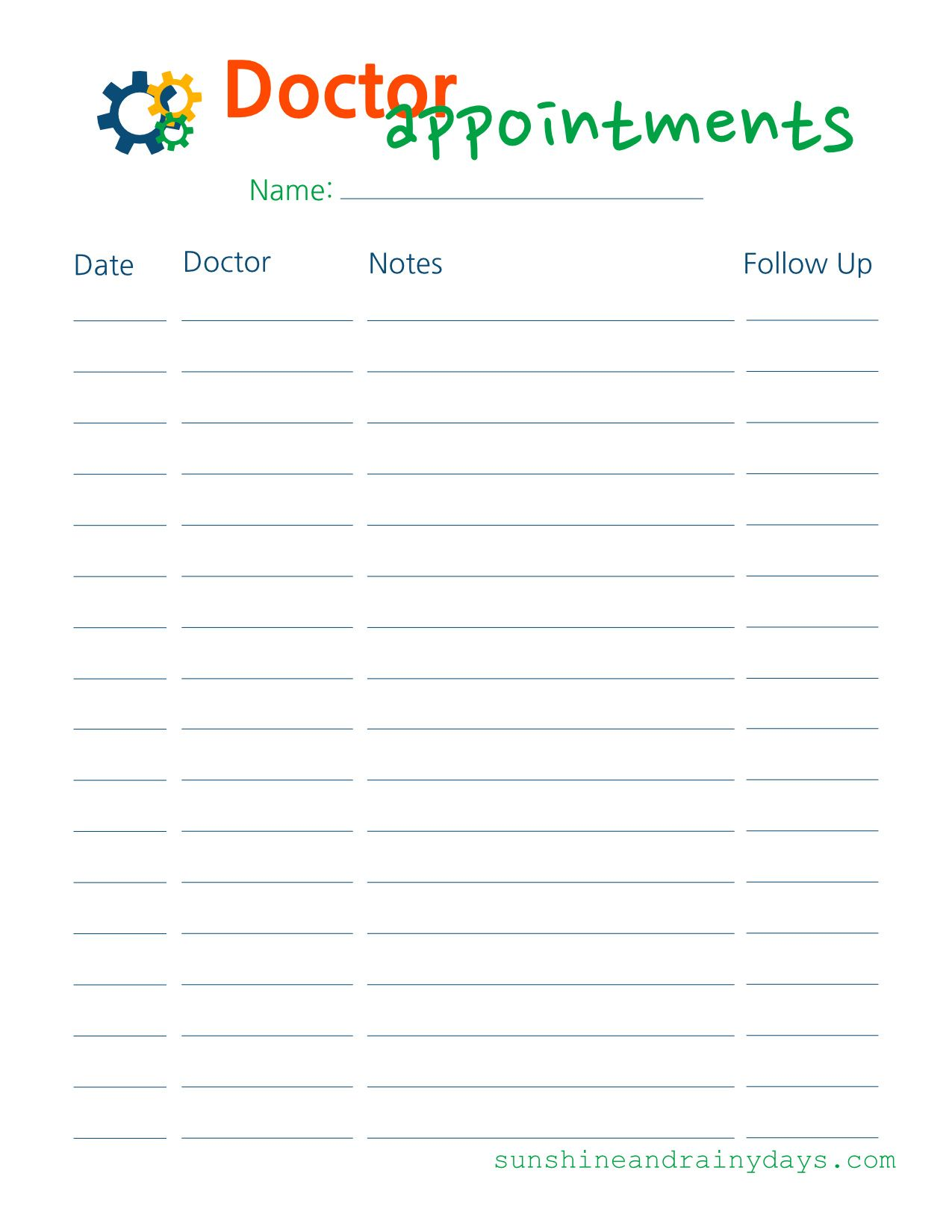 Doctor Appointments Doctor Appointment Wedding Guest List Template Doctor Visit