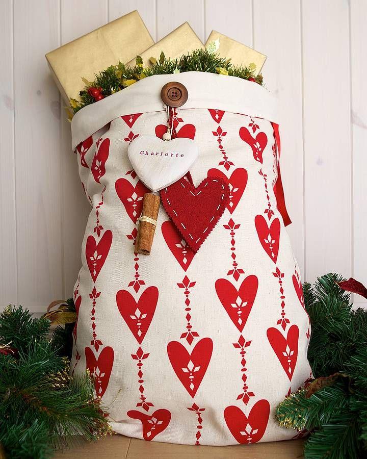 Homemade Christmas Decorations Uk: Personalised Love Christmas Santa Sack