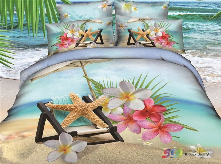 Beautiful Starfish And Flower On The Beach Print Duvet Cover Sets