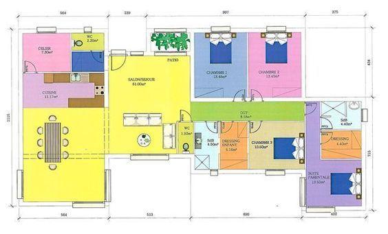 Plan de maison moderne plain pied gratuit IDÉE MAISON Pinterest