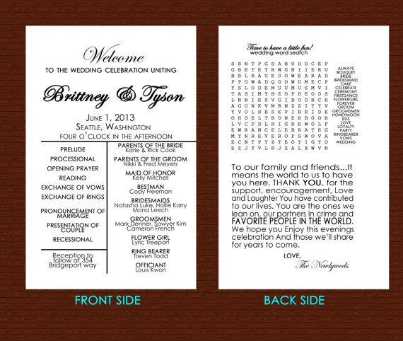 Wedding Program word search #weddingprogram #wordsearch #diywedding