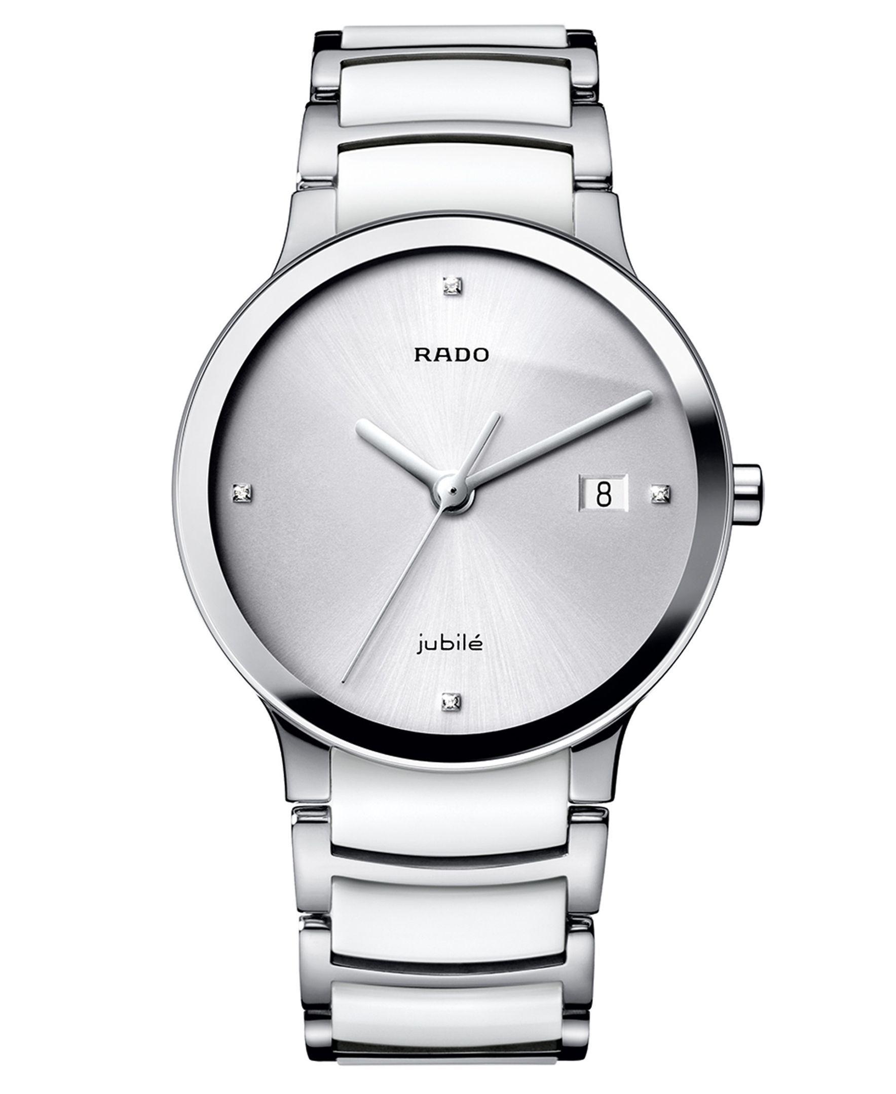 2e32c42e4 Rado Watch, Women's Swiss Centrix Diamond Accent Stainless Steel and White  Ceramic Bracelet 30mm R30927722