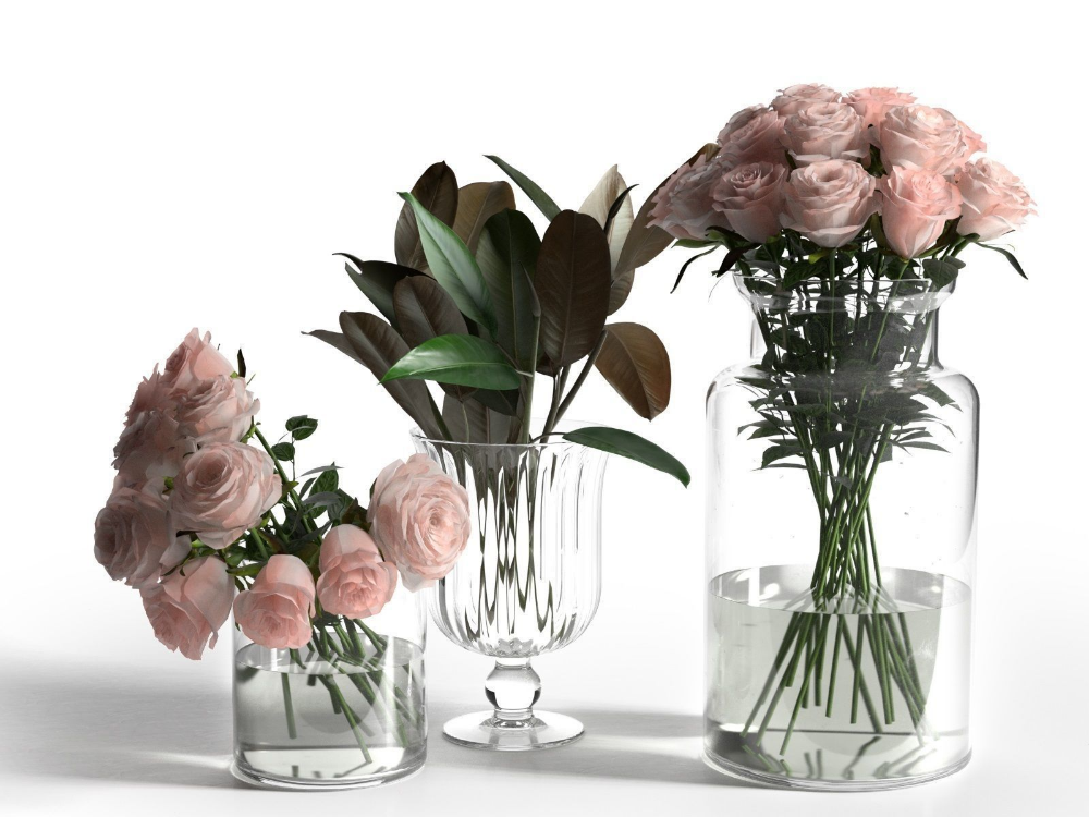 Glass Vases With Roses And Ficus Leaves 3d Model Glass Vase Vase Real Flowers