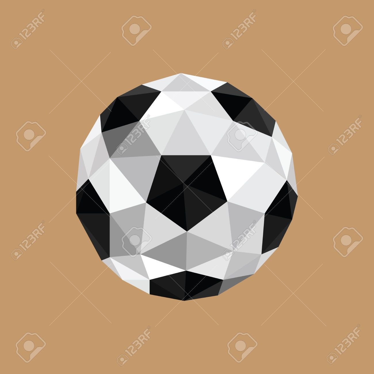 Illustration Of Abstract Origami Soccer Ball On Brown Background Football Tattoo Abstract Soccer Tattoos