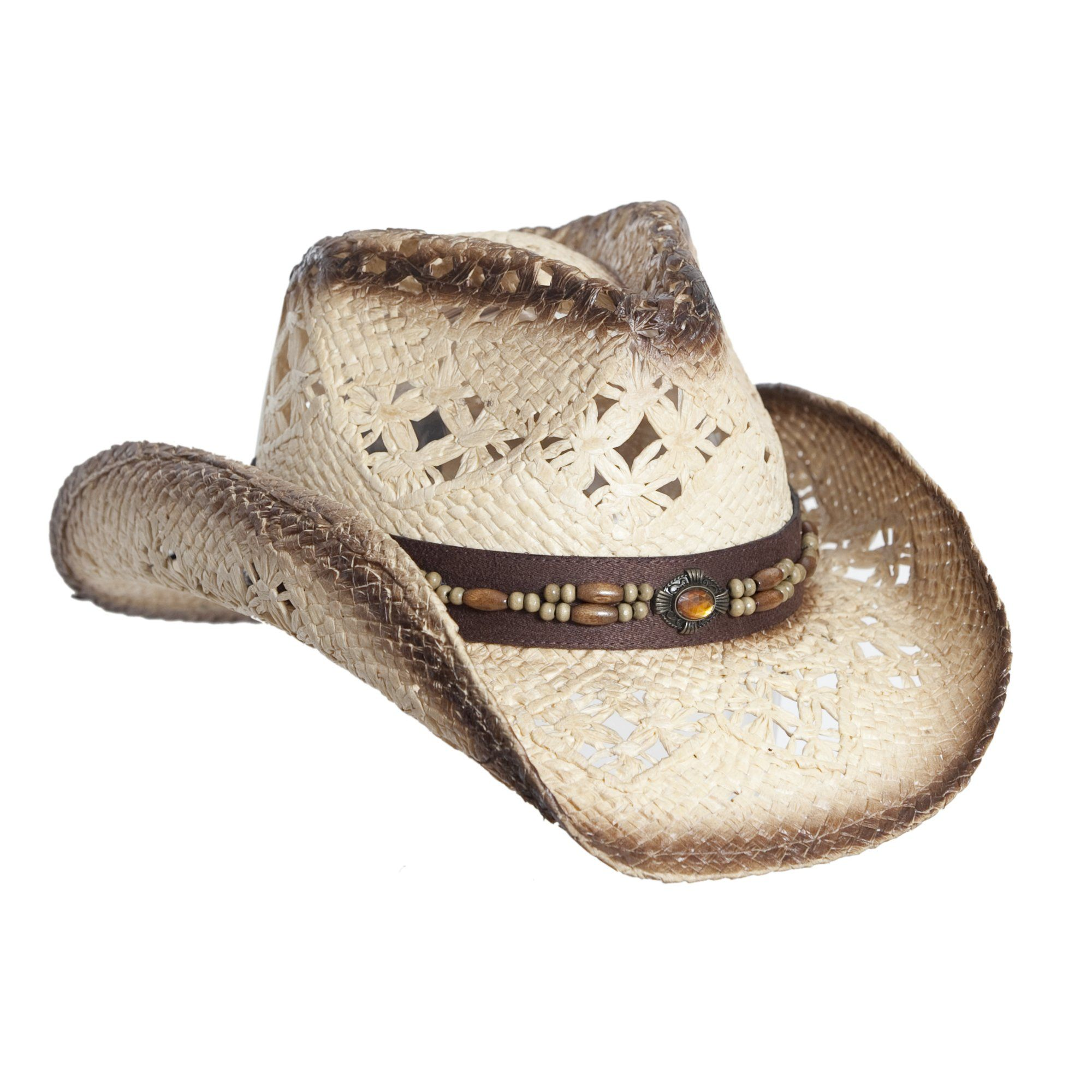 e76dadf65 Tea Stain Straw Cowboy Hat for Women, Faux Leather Trim, Shapeable ...