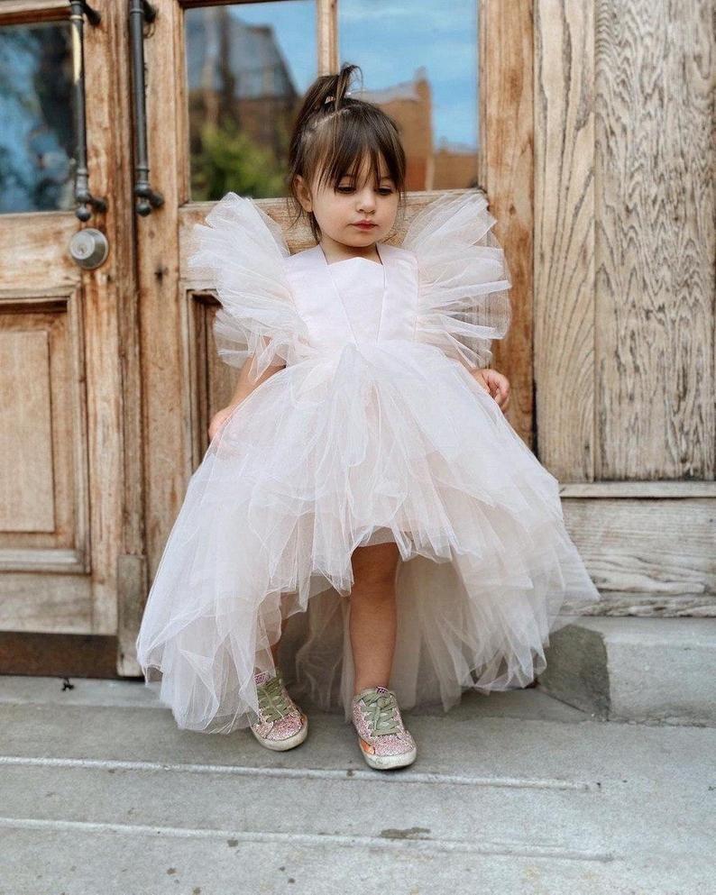flower girl dress ball princess dress Birthday party Barbie style girl dress Barbie tutu dress floor length puffy tulle dress for girl