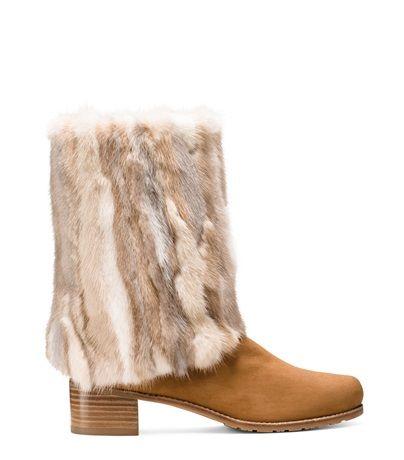 Stuart Weitzman BLIZZARD BOOT in Genuine Mink Fur Shoes