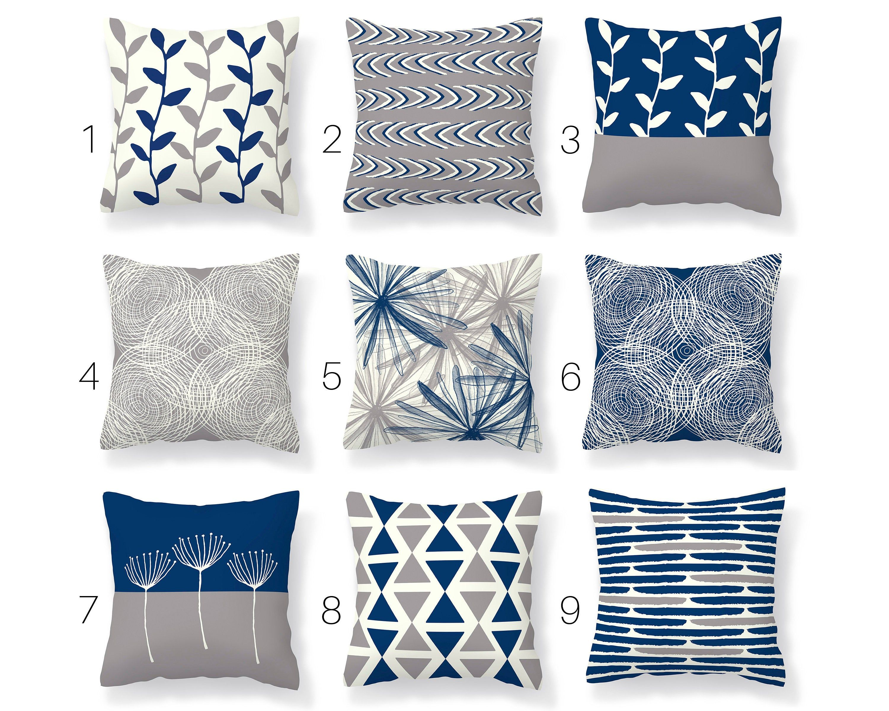 Blue Gray Throw Pillow Cover Modern Mix And Match Pillow Etsy Grey Throw Pillows Grey And White Cushions Blue Throw Pillows Blue throw pillows for couch