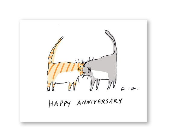 Happy Anniversary Card Cat Card By Jamieshelman On Etsy 4 95 Cat Cards Happy Anniversary Happy Anniversary Cards