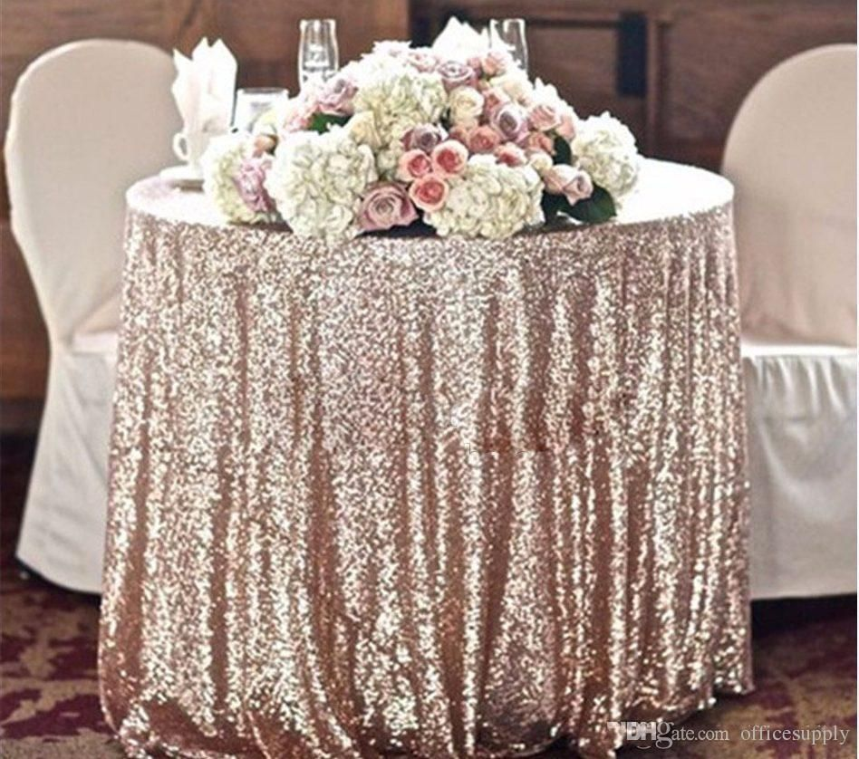 Custom Size Sparkly Sequin Table Cloth Garden Wedding Party Wedding Decorations Round Square Champagne Gold Silver Sequins Cake Table Cloth Large Tablecloth Blu Champagne Sequin Tablecloth Sequin Tablecloth Sequin Table
