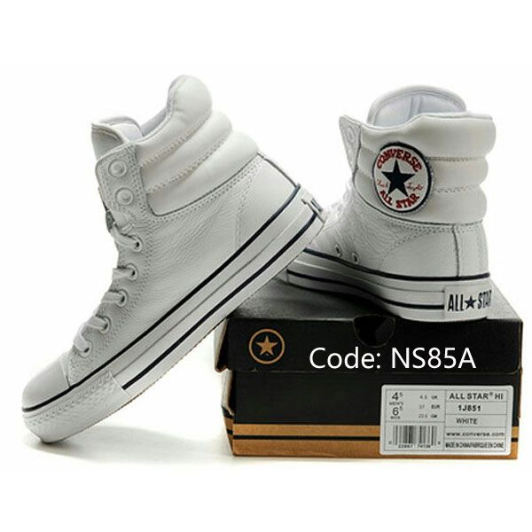 5b967ad369e321 2013 White Embroidery Converse Padded Collar Chuck Taylor All Star High  Tops Leather Winter Boots