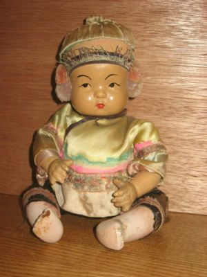 Antique Chinese Baby Doll Full Body Composition- Asian