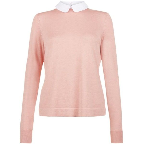 Hobbs Bryony Jumper, Pale Pink/White ($110) ❤ liked on Polyvore ...