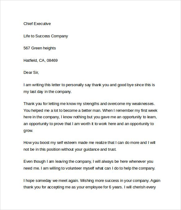 Thank You Letter Boss After Resignation Important Note Incredible Useful Templates