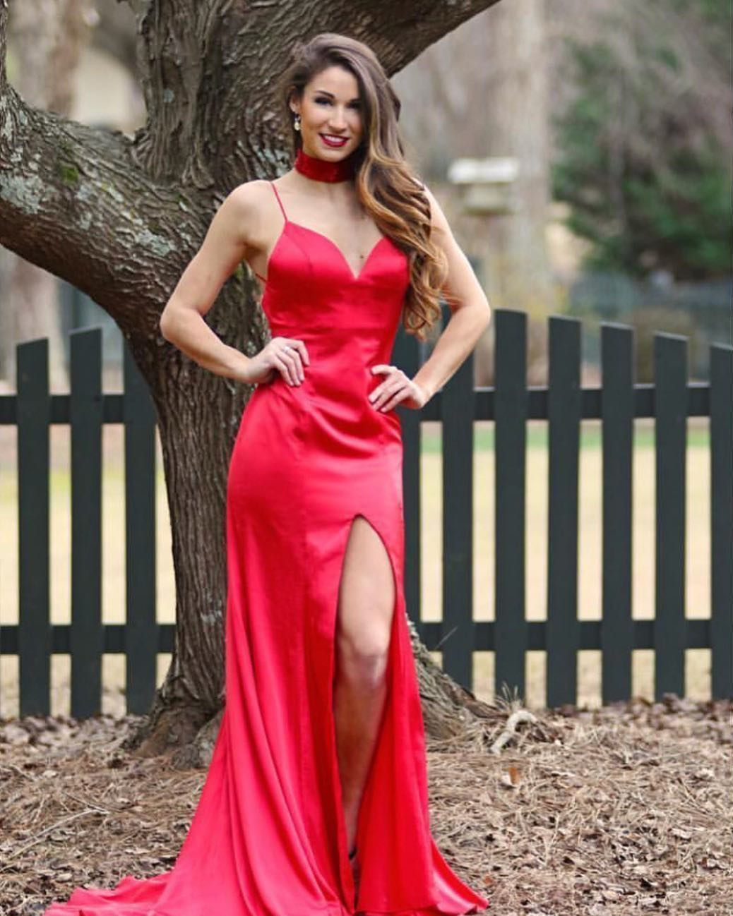 Red mermaid long prom dress with side slit prom dress