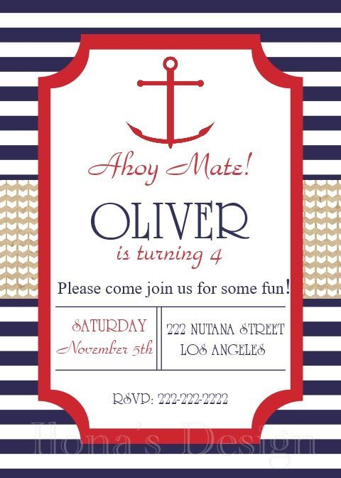 Nautical Birthday Invitation Sailboat Invite 1st Anchor