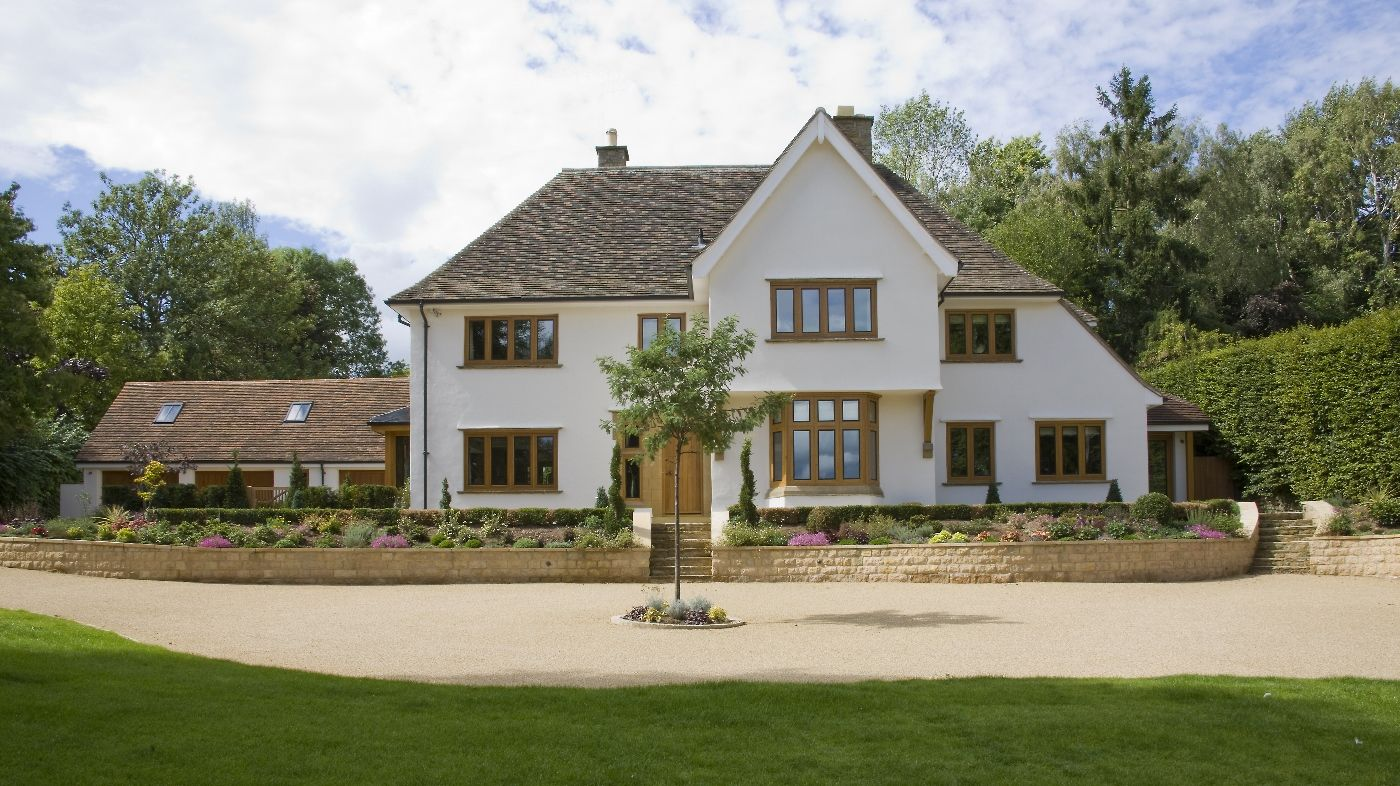 Front Elevation of the property showing the distinctly traditional architecture of the country house