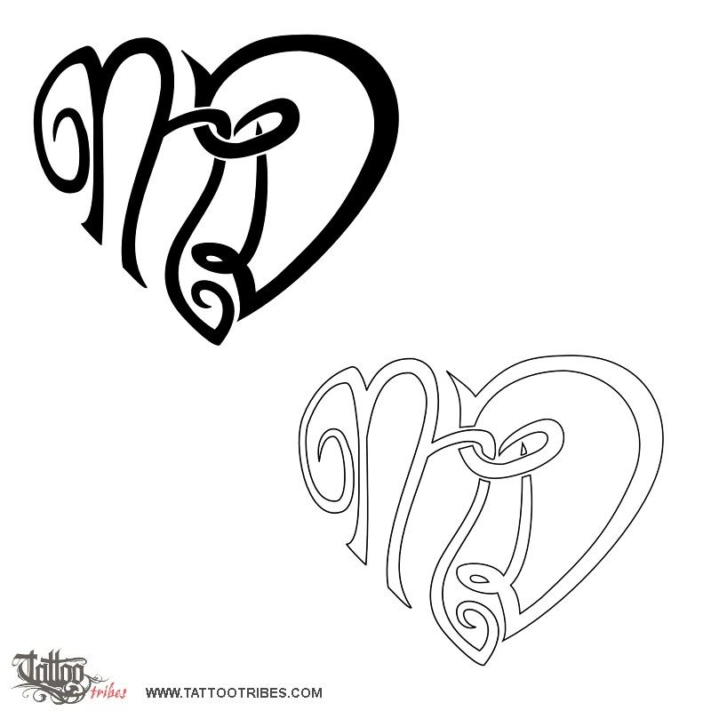 Heart Of M D Letters Monogram Tattoo Tattoo Designs Heart Tattoo Designs