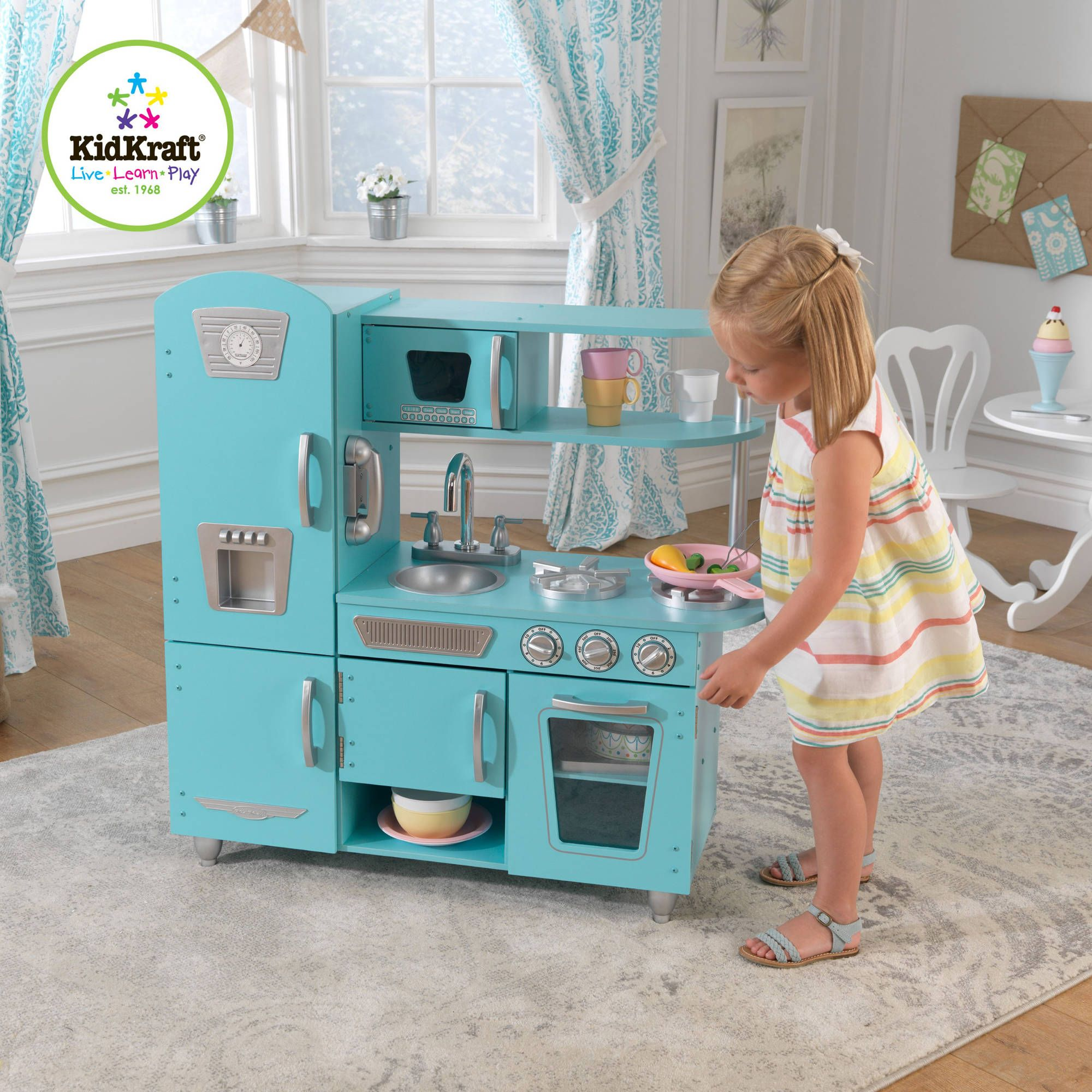 Kidkraft Wooden Play Kitchen kidkraft vintage wooden play kitchen in pink | wooden play kitchen