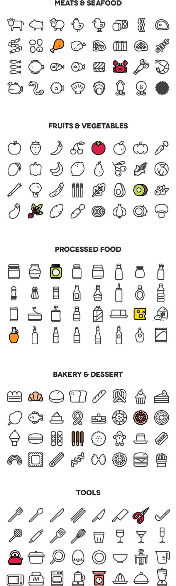 160 Cooking Icons on Behance