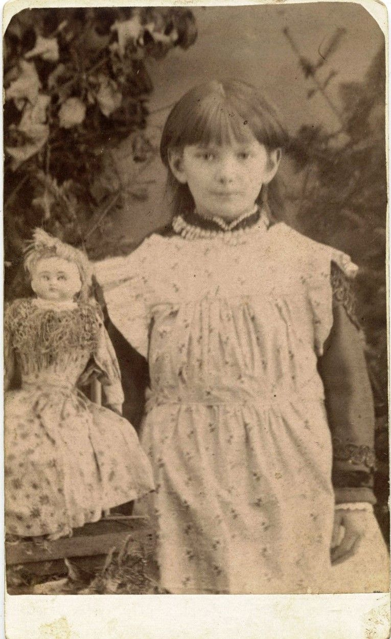 GIRL WITH DOLL - ANTIQUE CDV PHOTO BY J. A. JONES, ECHO VALE, QUEBEC STUDIO.  Saved from Ebay