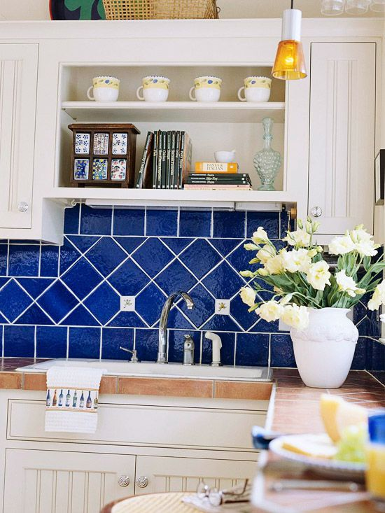 Find your perfect kitchen backsplash blue tiles diamond for Perfect tiles for kitchen
