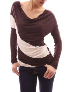 PattyBoutik Trendy Diagonal Stripe Cowl Neck Long Sleeve Knit Top (Brown M)
