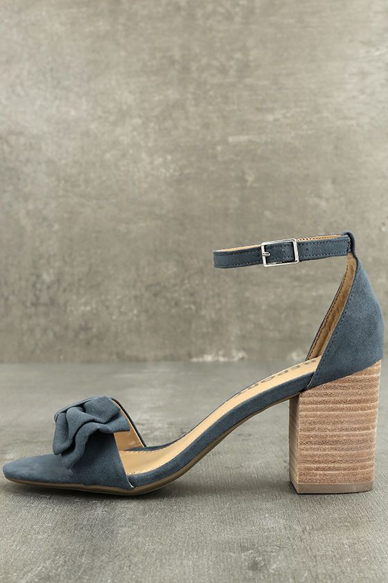 7637b4948f1 Report Pearlina Blue Suede Ankle Strap Heels