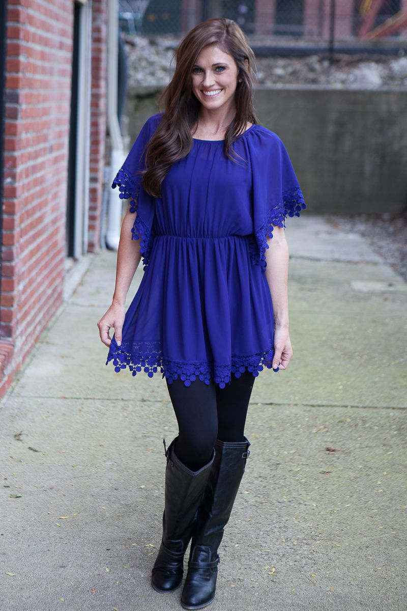 Magnolia Boutique Indianapolis - Crochet Detail Chiffon Tunic - Royal, $39.00 (http://www.indiefashionboutique.com/crochet-detail-chiffon-tunic-royal/)