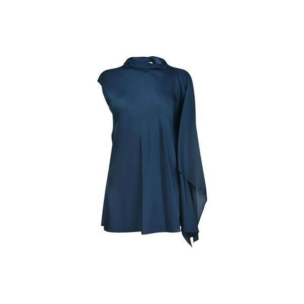 By Malene Birger Annica Silk Blouse ($375) ❤ liked on Polyvore featuring tops, blouses, blue silk blouse, blue silk top, blue blouse, by malene birger and silk top