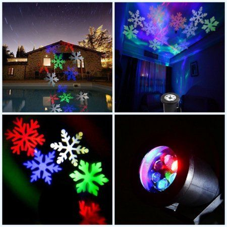 Waterproof Snowflake Rotating Projector Lights, LED Moving Projector