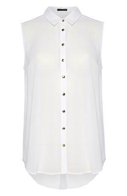 10c50ba8671 Blusa blanca sin mangas con botones dorados | blusas | Blusa con ...