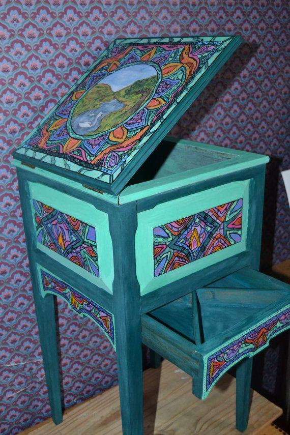 Secret Stash Side Table Painted Furniture By NirgunaFurnishings, Hippie  Furniture, Painted Table, Pattern Furniture, Bird Furniture